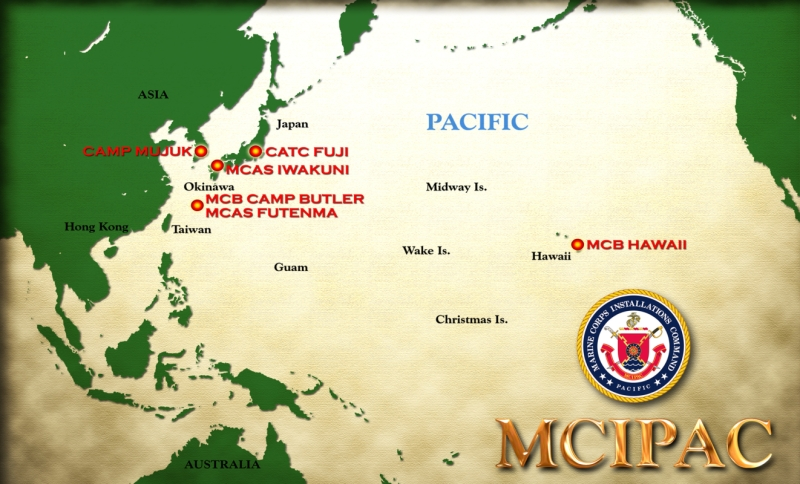This image is of an illustrated map of MCIPAC.