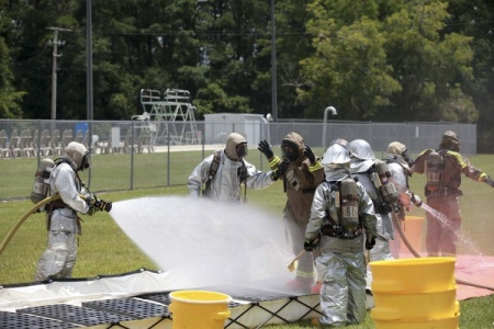 Chemical spill at the training pool aboard MCAS Beaufort, South Carolina