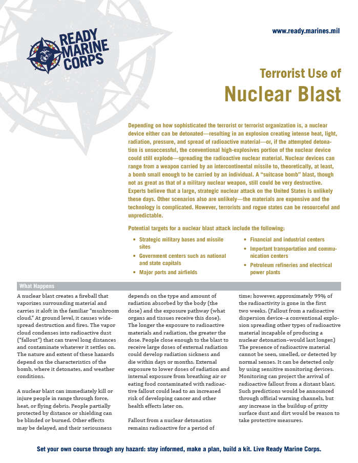 Nuclear Explosion Fact Sheet