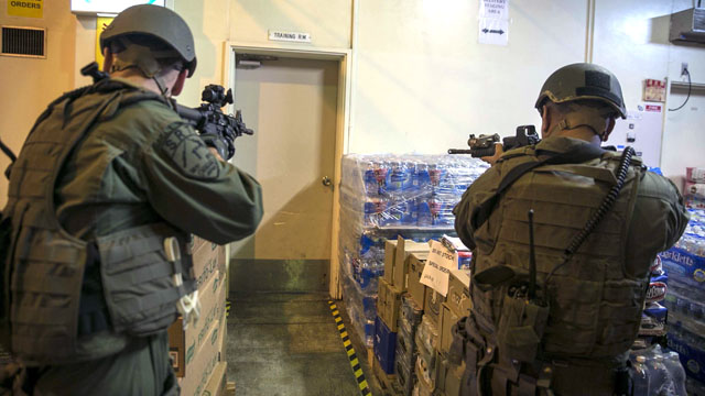 Marines participate in an active shooter exercise.