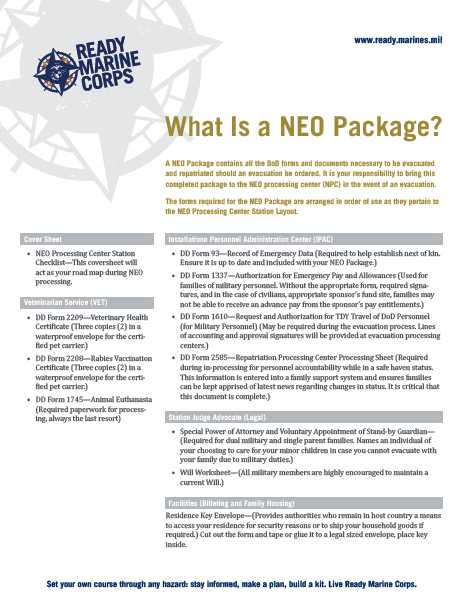 NEO Package fact sheet