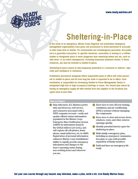 Sheltering-In-Place Fact Sheet